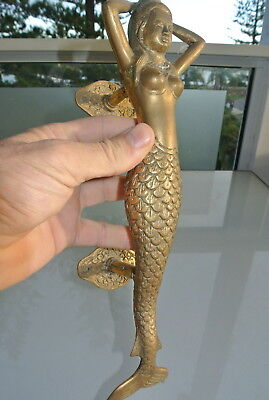 "2 medium MERMAID brass door PULL old style heavy house PULL handle 13"" aged B 7"