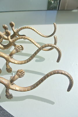 "4 large GECKO handles pulls cast solid BRASS  8"" KNOBS doors antiques houses B 4"