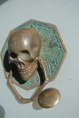 "aged SKULL handle KNOCKER PULL solid BRASS green old style DOOR amazing 5"" B 5"