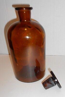 Antike Apothekenflasche braun, mit Glasstopfen, Höhe 21cm, gebraucht, GUT! 3
