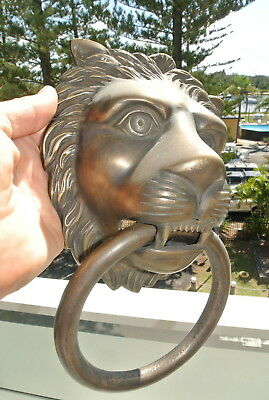 """HUGE stunning LION solid Brass heavy Door Knocker 12"""" unusual ring PULL B 8"""