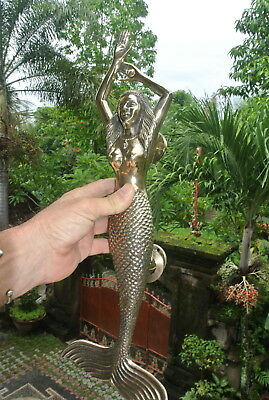 massive MERMAID solid brass door PULL old style heavy polished handle 49 cm B 12
