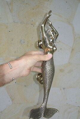 massive MERMAID solid brass door PULL old style heavy polished handle 49 cm B 2