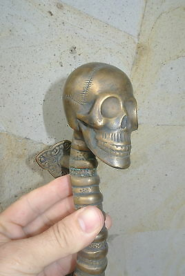 "SKULL handle DOOR PULL spine solid BRASS CAST old style heavy aged  11 "" long B 4"