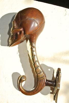 """2 SKULL head 7"""" long WALL HOOK heavy BRASS old style SCREW wall spine hang B 5"""