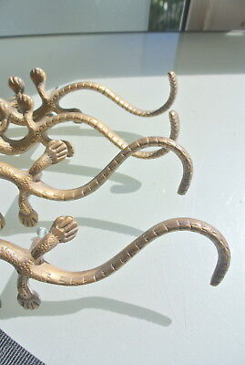 4 Large GECKO handles pulls cast solid BRASS 20cm KNOBS doors antiques houses 6