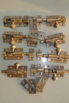 10 small BOLTS old style doors furniture heavy brass flush slide 65mm bolts 2