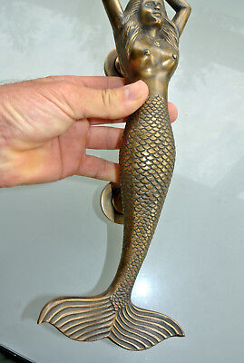 "large RIGHT MERMAID solid brass door PULL old style heavy house handle 15"" age B 2"