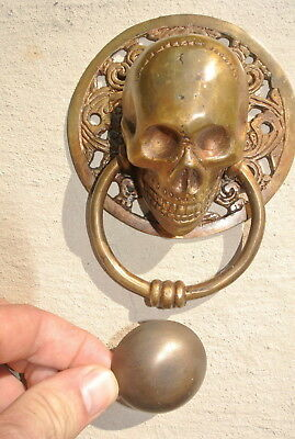 """large round SKULL head ring pull Handle BRASS 4"""" day of the dead door KNOCKER B 3"""