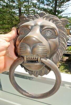 """HUGE stunning LION solid Brass heavy Door Knocker 12"""" unusual ring PULL B 9"""