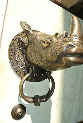 "RHINO heavy Door Knocker SOLID BRASS vintage age style house amazing 5.1/2"" B 2"