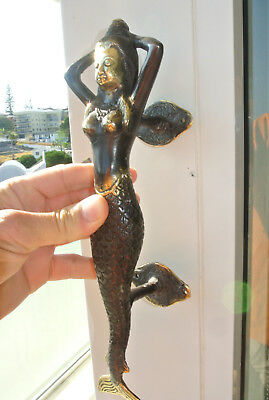 "medium MERMAID brass door PULL aged old style look heavy house PULL handle 13""B 8"