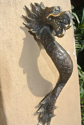 "2 Dragon door pull 30 cm aged brass vintage old style house handle 12"" long B 9"
