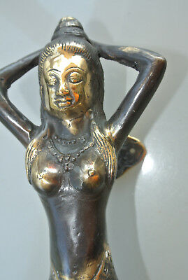 "2 MERMAID brass door PULL aged old style look heavy house PULL handle 13"" B 6"