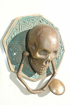 "aged SKULL handle KNOCKER PULL solid BRASS green old style DOOR amazing 5"" B 4"
