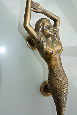 """large right MERMAID solid brass door PULL old style heavy house PULL handle15"""" B 9"""