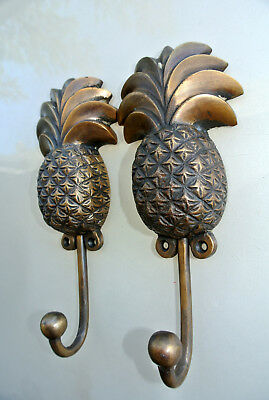"2 large PINEAPPLE COAT HOOKS solid age brass  vintage old style 7"" hook B 3"