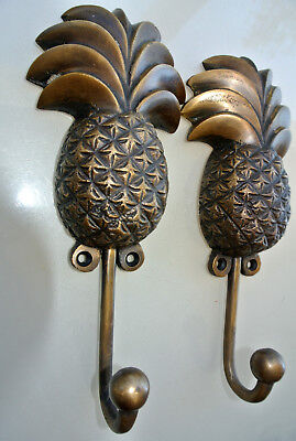 "2 large PINEAPPLE COAT HOOKS solid age brass  vintage old style 7"" hook B 7"
