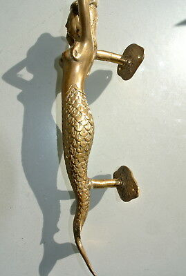 "medium MERMAID aged pure brass door PULL old style heavy house PULL handle 13"" B 4"