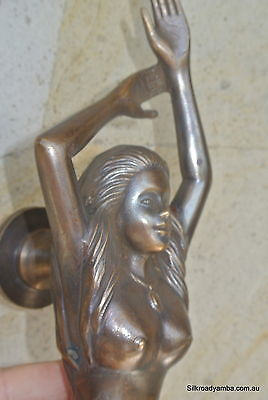 """large MERMAID solid brass door PULL old style heavy house PULL handle 15"""" aged B 7"""