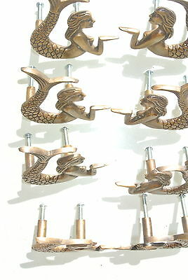 8 cute mermaid handles heavy SOLID BRASS old style bolt house antiques 80mm B 6