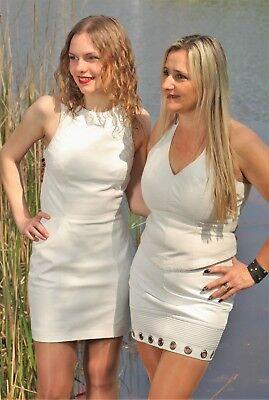 Lederrock aus ECHT-Leder im Design Style in weiß für Damen Deko-Naht
