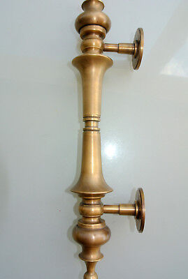 """1 large DOOR handle pulls solid SPUN brass vintage aged old style 12 """" B 5"""
