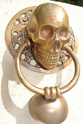 "large round SKULL head ring pull Handle BRASS 4"" day of the dead door KNOCKER B 6"