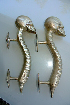 4 SKULL handle DOOR PULL spine solid BRASS old vintage style SILVER 28 cm B 5