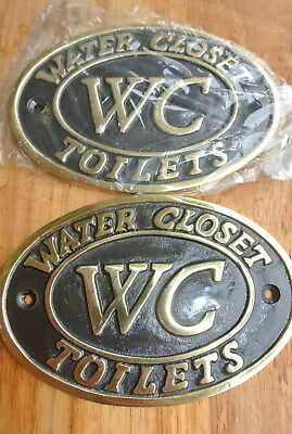 "2 toilet solid brass signs "" WC "" water closet screw door cast heavy 11.5 cm B 3"