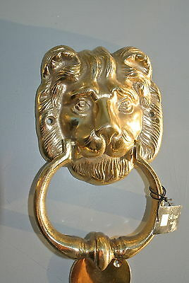 """LION head heavy POLISHED Door Knocker SOLID BRASS vintage old style house 7"""" B 2"""