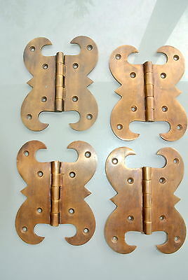 """4 hinges heavy vintage old style cast solid Brass DOOR BOX restore heavy 5"""" B 2"""