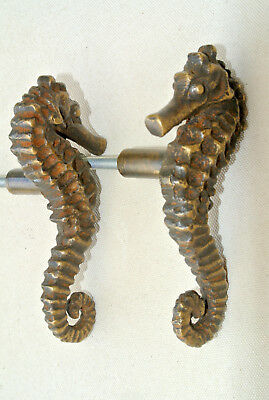 8 small SEAHORSE solid BRASS heavy KNOBS TROPICAL old style 7.5 cm L & R B 4