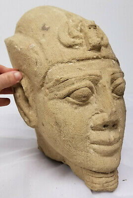 Antique Egyptian Style Carved Pharoah Head Sandstone Ancient Alien Antiquity 5