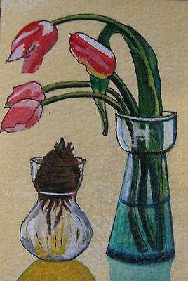 "C311    Original Acrylic  Painting By Ljh  ""Rose Bowl"" 5"