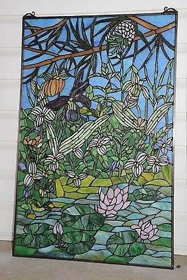 "24"" x 36"" Lily Pond Lotus Tiffany Style stained glass window panel 8"
