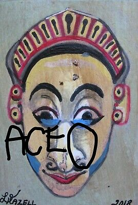 """A872  NEW -    ORIGINAL ACRYLIC ACEO PAINTING BY LJH    """"MASK""""  One-Of-A-Kind 10"""