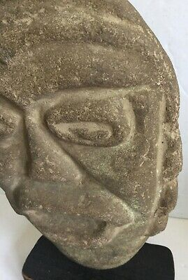 Pre-Columbian  Large Carved Basalt Head -Old Important Estate Collection 3