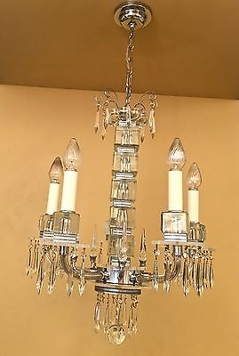 Vintage Lighting extraordinary 1930s Deco crystal chandelier 2