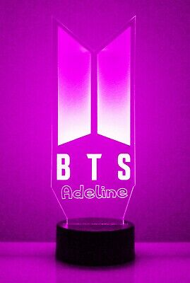 KPOP BTS Personalized Light Up Night Light Lamp With Remote Bangtan Boys V Gift 3