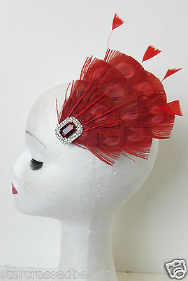 Red Peacock Feather Vintage Fascinator 1920s 1940s Races Hair Clip Art Deco P62 6
