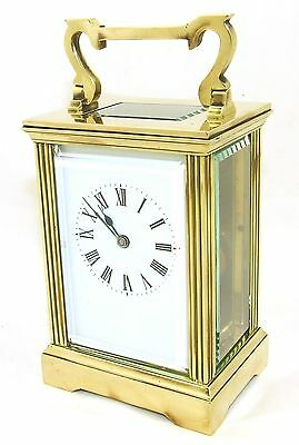 French Brass Carriage Clock with Bevelled Glass & Winding Key WORKING 2