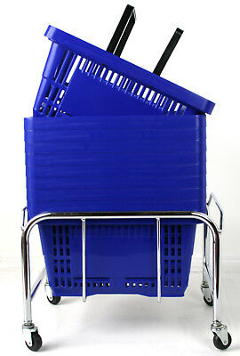 Pack of 20 x 2 Handle Blue Plastic Shopping Basket Retail Supermarket Use 4