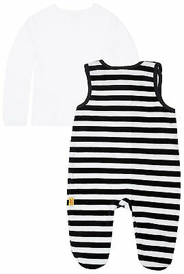 STEIFF® Jersey Strampler Schlafanzug geringelt Marine Bär Gr 56 62 68 74 NEU!
