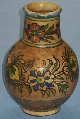 ANTIQUE RARE PERSIAN VASE 17th-18th CENTURY POLYCHROME FLORAL POTTERS WHEEL
