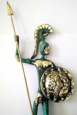 Ancient Greek Bronze Museum Statue Replica of Achilles With Spear & Shield Troy 2