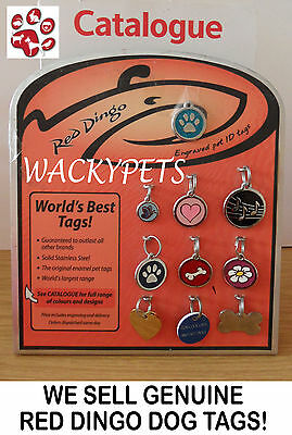 Black Atom Engraved Red Dingo Dog ID identity Tags / discs (1AT)