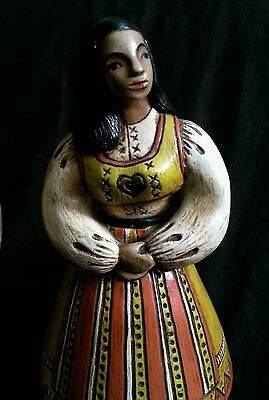 """Vintage hand made chalkware figurines in national costumes 10.5"""" S.America Euro 4"""