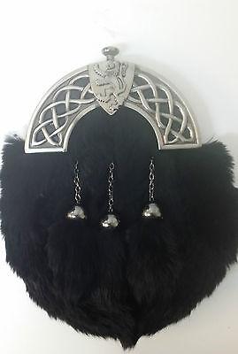 NEW BOXED Antique Celtic Shield Lion Black Rabbit Kilt Sporran Made in Scotland 2