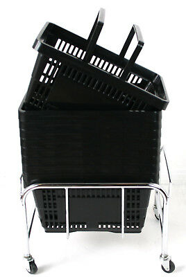 Pack of 20 x 2 Handle Black Plastic Shopping Basket Retail Supermarket Use 4